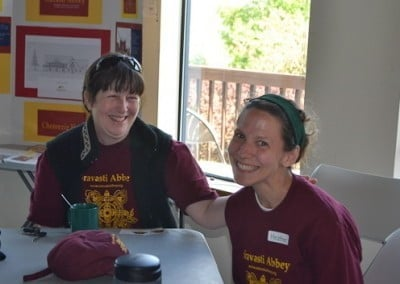 Heather and Tracy are all smiles at the wonderful time they had volunteering at the Abbey.