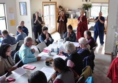 The 32 retreatants gather to chant the prayers before lunch.