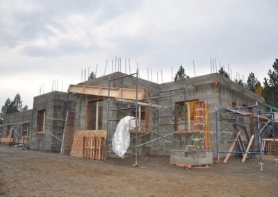 Outside view of the construction of the Chenrezig Hall.