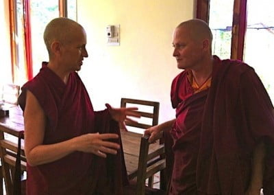 Ven. Chodron exchanges ideas with Thosamling founder, Ven. Sangmo.