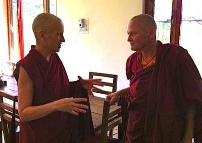 Buddhist nun Venerable Chodron talking to Venerable Sangmo.