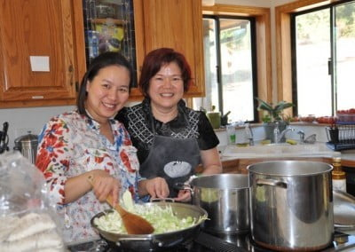 Sue Wong and her friend Lily visit and make a wonderful Chinese meal for the community.
