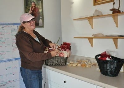 Juliet helps to prepare lunch and wonderful food displays.