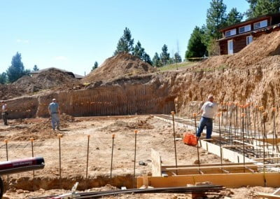 Finishing up the details of the forms and rebar for the foundation.