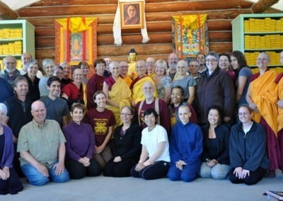 Group photo of abbey community and retreatants.