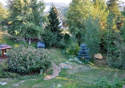 A view of the garden, with tents.