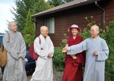 Buddhist nun, Venerable Chodron with three chinese nuns.