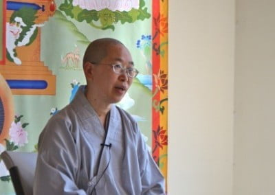 Ven. Jendy gives a Dharma talk for the Abbey's Bodhisattva Breakfast Corner.