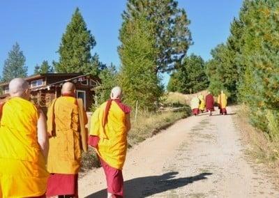 Buddhist monks and nuns walking uphill.