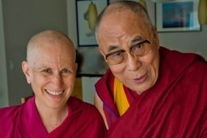 His Holiness the Dalai Lama with Ven. Chodron