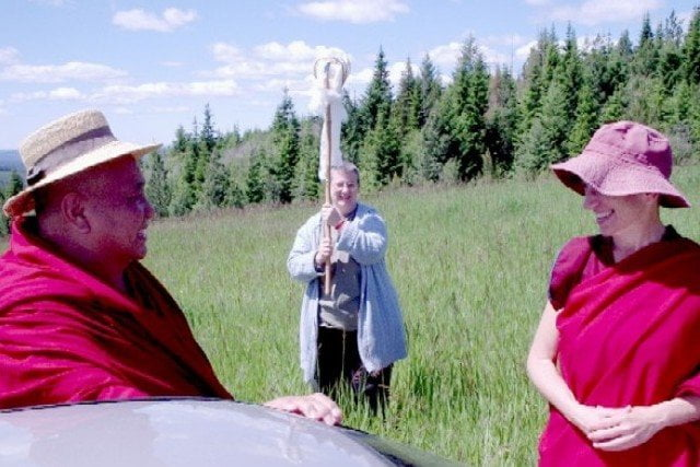Khensur Wangdak Rinpoche blesses the land, high point in our history.