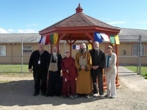 Buddhist and other religious leaders celebrated the opening of the pagoda. From left to right, SCC Chaplain Cloud, Koro Kaisan Miles, Ven. Thubten Chonyi, Fa Hsing Jeff Miles, Rowan Conrad and Peggy Conrad.