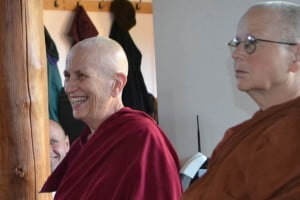 Venerable Chodron (left), and Ayya Sobhana from Dhammadarini Vihaar in California.