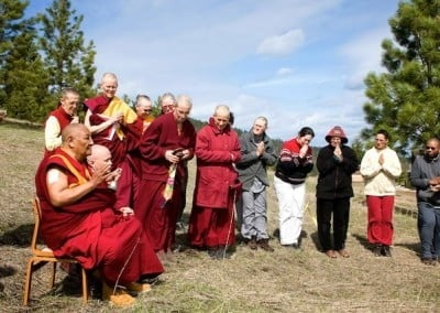 Rinpoche blesses the site.