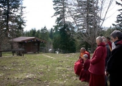 Rinpoche then blesses the site for the teacher's cabin.