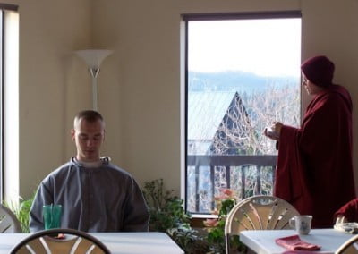 Jampel and Venerable Tarpa share a quiet time to study and contemplate the teachings.