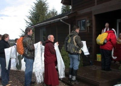 What a lovely moment! The Washington State University forestry class, who is doing forest study on the Abbey land, offer khatas to Khensur Wangdak the day he arrives. They enjoy meeting a Tibetan lama.