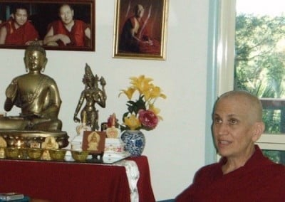 Lama Yeshe and Lama Zopa Rinpoche founded CI in 1974. They appear to be listening in as their student, Venerable Chodron, talks about founding Sravasti Abbey 31 years later.