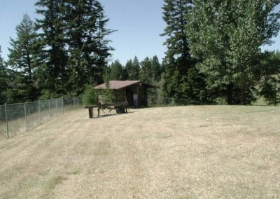 A nice summer site, the cabin was winterized into a retreat for all seasons (2004).