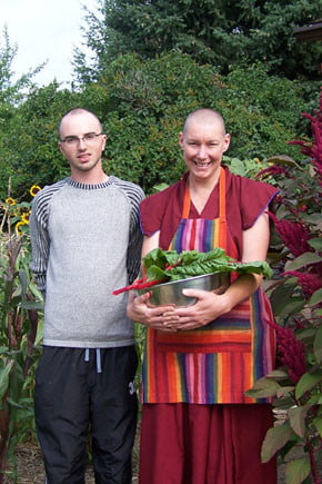 Venerable Tenzin Chogkyi and Gedun in the garden.