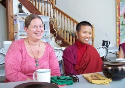 Deb, who helps with the audio and video for the undertaking, sits with Venerable Wangmo, who is well known for her CDs of beautiful chanting of Tibetan prayers.