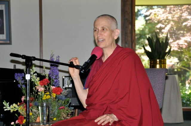 Venerable Chodron gives a teaching.
