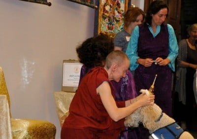 Venerable Samten blesses a companion dog that came to the relics with its owner.