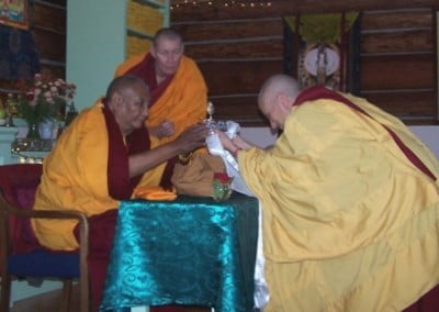 Venerable Chodron offered a mandala, a symbol of the universe, to Khensur  Rinpoche before the teachings began.