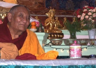 Rinpoche and Vajrasattva are shown here. Together they both encourage us to purify negative karma and afflictions with the 4 opponent powers.