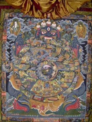 Part of The Precious Garland teaches on the 12 Links of Dependent Arising, which describes the cycle of life for all beings in samsara. The abbey has a  thangka showing the suffering  of beings caught in the cycle.