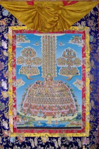 Fortunately those of us trapped in  cyclic existence have the glorious  merit field to guide and inspire us to  free ourselves from the 12 Links. A thangka of the merit  field adorns the hall also.
