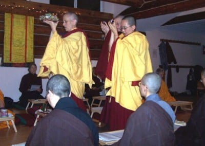 The teachings ended with a beautiful Tsok offering. Venerables Chodron,  Chosang, and Tarpa offered the guru plate and substances.