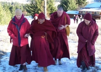 Rinpoche enjoyed daily walks. Here the sangha accompanies him up to the Abbey's meadows.