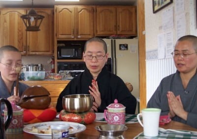 The beautiful chanting of the Chinese bhikkshunis graced the lunch table at the Abbey.