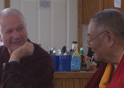 Venerable Steve, Khensur Rinpoche's translator, shared a moment with his teacher.  Both have cared for each other for many years and for many of us this was a  teaching on how mutually beneficial the teacher/student relationship can be.