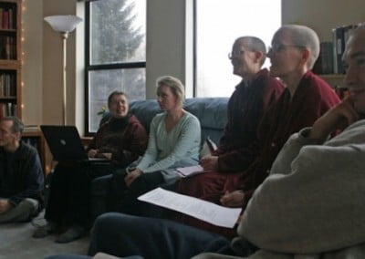 (Right to left) Carl, Venerable Semkye, Venerable Tarpa, Cheryl, Kathleen and Kevin are making sincere commitments to helping the monastic residence become a reality for the sangha of Sravasti Abbey.
