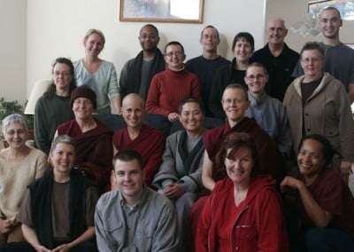 A merry band of Dharma friends come together for a group photo before they return homeward.