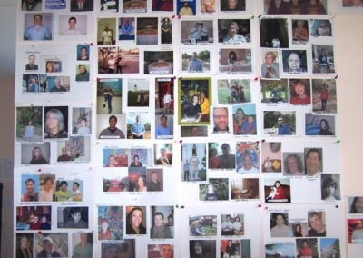 Photos of the retreatants from afar fill a large wall in the meditation hall. We bow to you all.