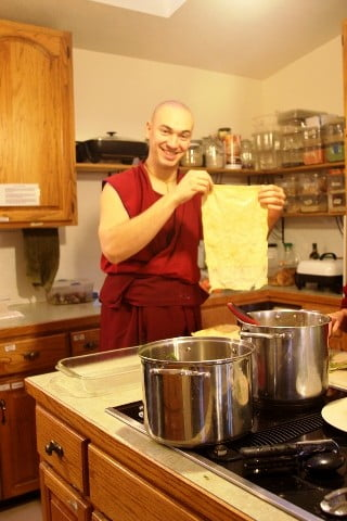 """Yes, its tofu. Honest."" Ven. Jampel offers  delicious vegetarian meals for the retreatants."