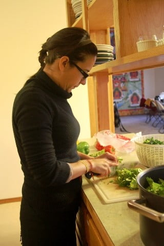 Ana helps with the lunch prep by chopping the  many vegetables that will go into the lunch for the day. Doing retreat surprisingly gives you a hearty appetite!