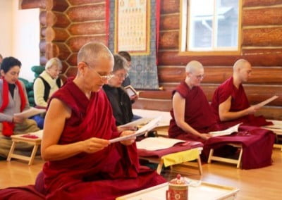 "At the request of one of our benefactors in Italy, the group reads aloud Shantideva's beautiful text on the six far-reaching practices called, ""A Guide to a Bodhisattvas Way of Life"" on Christmas Day."
