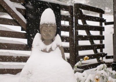 Buddha statue in the snow