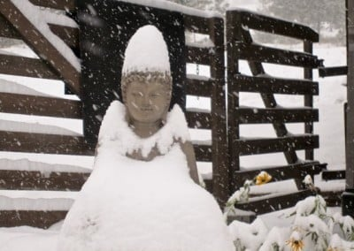 The Buddha smiles in spite of the blizzard.