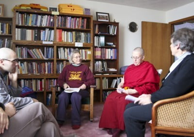 Venerable Jigme and some of the participants gather for a group discussion in the library.