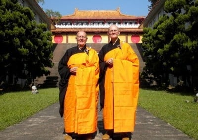 Venerables Jigme and Chonyi in their Chinese bhikshuni robes.
