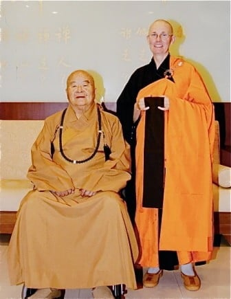 Venerable Chonyi with Fo Guang <br> Shan's founder, Master Hsing Yun.