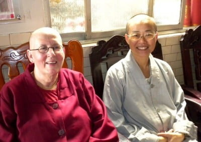 At Chao-Feng Temple, Venerable Jigme and Venerable Tien happily reconnect.