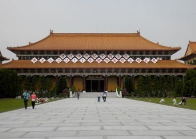 In contrast, Fo Guang Shan, the ordaining temple, is one of the largest temples <br> in Taiwan. Here's the outside of the Main Shrine, where most of the ordination and other ceremonies take place.