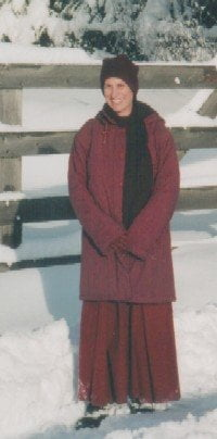 Ven. Chodron enjoys winter