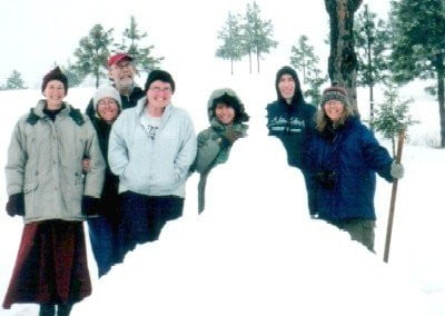 Our first stupa, built by Miles and Rebecca at the end of the volunteer service weekend. (Feb 04)